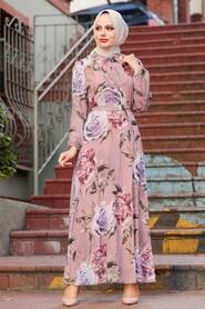 Dusty Rose Hijab Dress 7102GK - Thumbnail