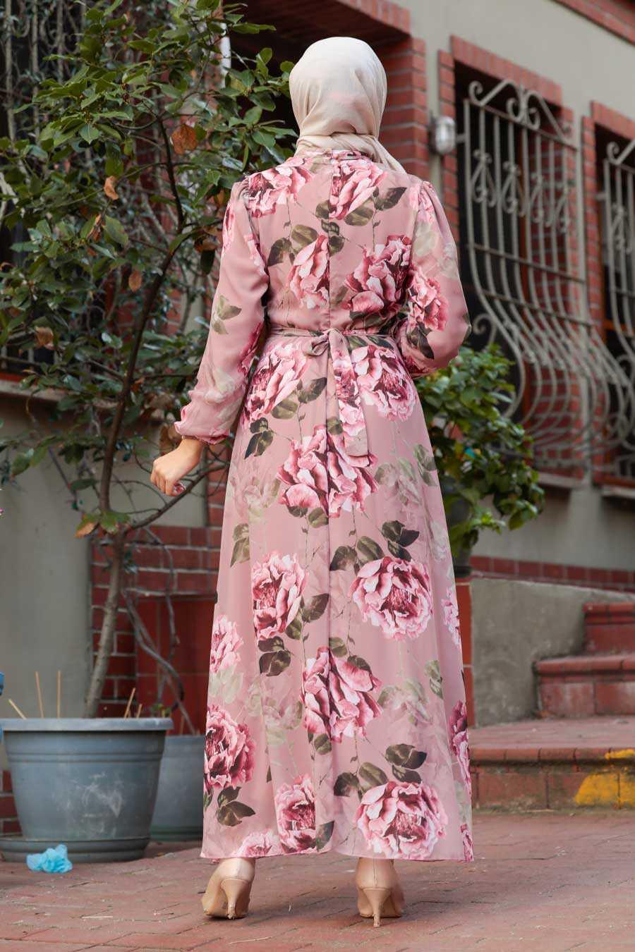 Dusty Rose Hijab Dress 7102GK