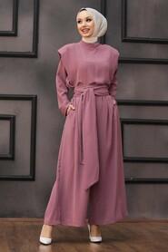 Dusty Rose Hijab Dual Suit Dress 1471GK - Thumbnail
