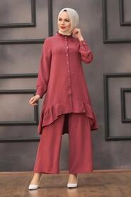Dusty Rose Hijab Dual Suit Dress 2428GK - Thumbnail