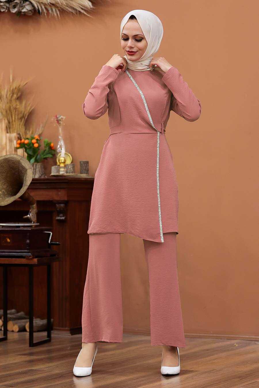 Dusty Rose Hijab Dual Suit Dress 3000GK
