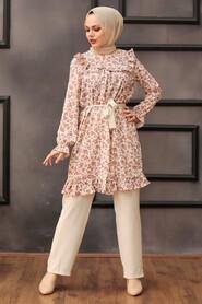 Dusty Rose Hijab Dual Suit Dress 30410GK - Thumbnail