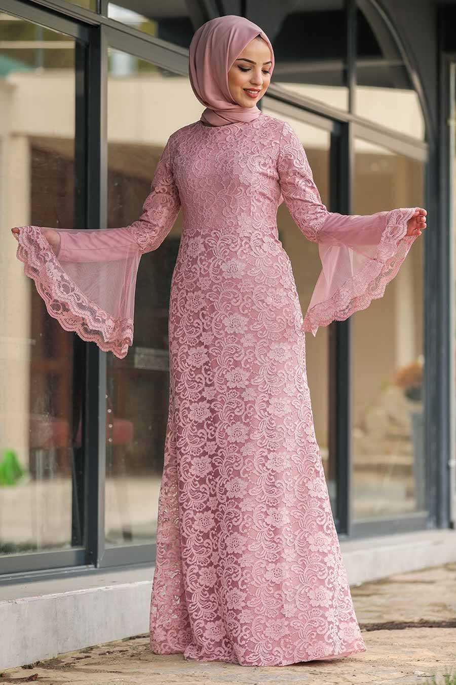 Dusty Rose Hijab Evening Dress 2567GK