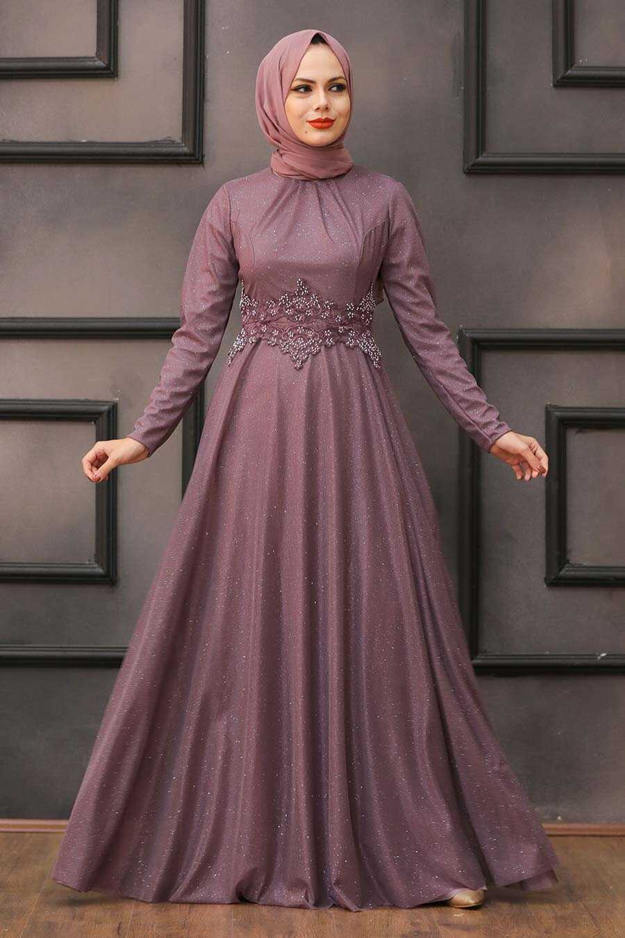 Dusty Rose Hijab Evening Dress 50162GK
