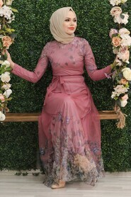 Dusty Rose Hijab Evening Dress 50171GK - Thumbnail