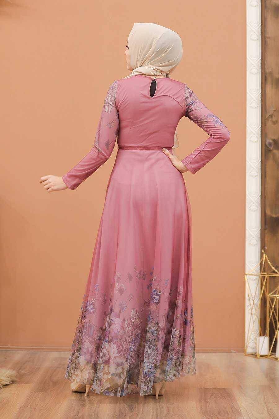 Dusty Rose Hijab Evening Dress 50171GK