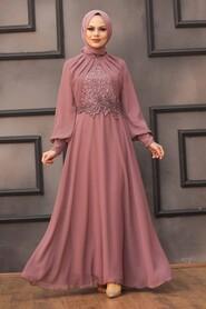 Dusty Rose Hijab Evening Dress 52785GK - Thumbnail