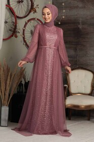Dusty Rose Hijab Evening Dress 5383GK - Thumbnail