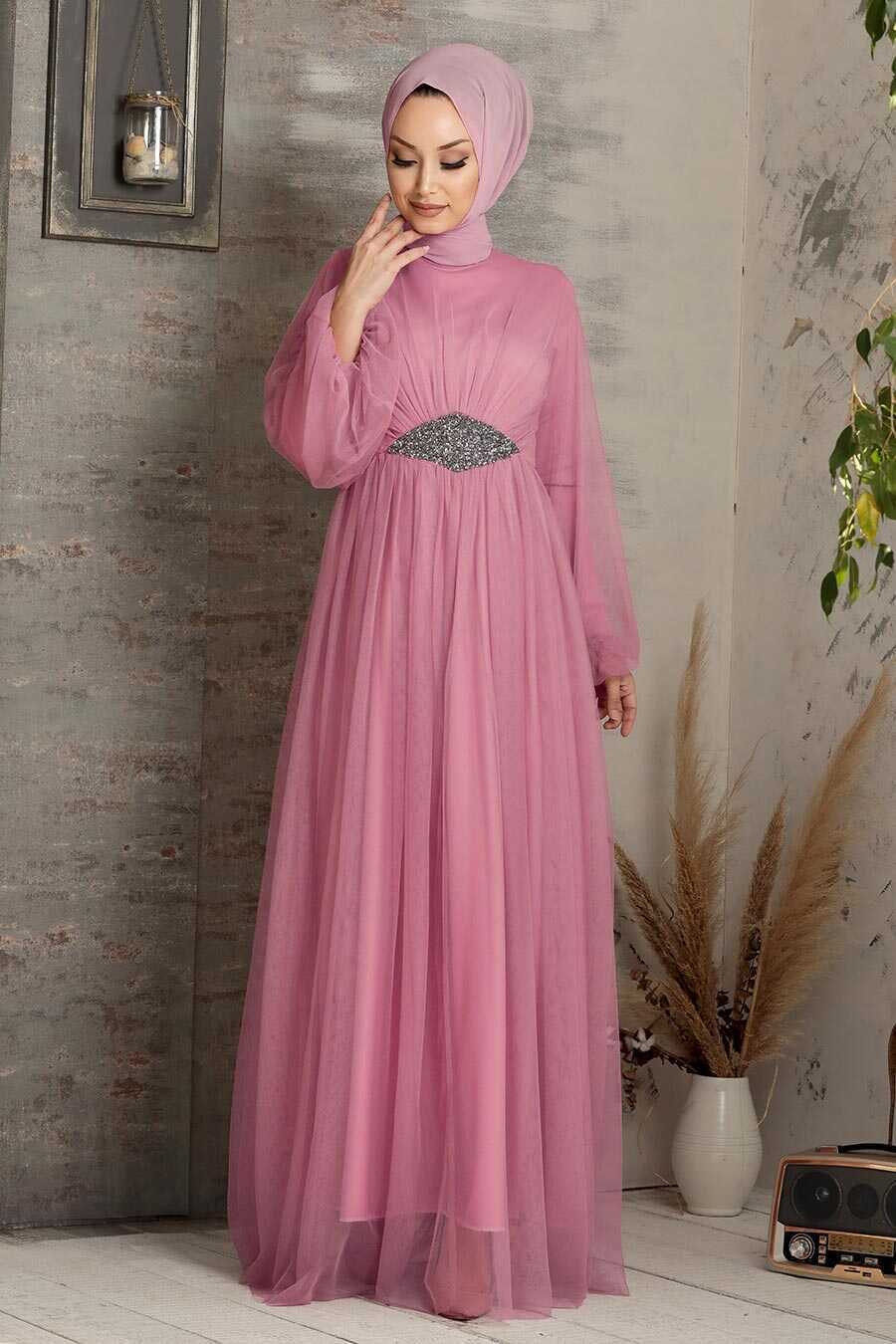 Dusty Rose Hijab Evening Dress 54230GK