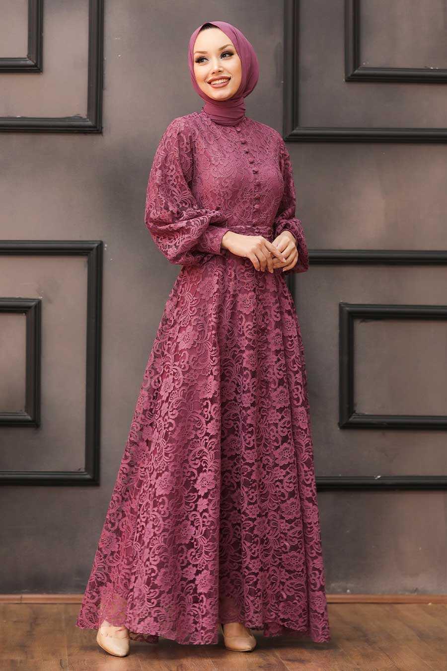 Dusty Rose Hijab Evening Dress 5477GK