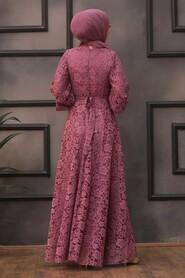 Dusty Rose Hijab Evening Dress 5477GK - Thumbnail