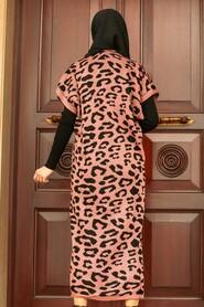 Dusty Rose Hijab Knitear Suit Dress 3192GK - Thumbnail