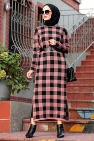 Dusty Rose Hijab Knitwear Dress 3048GK - Thumbnail