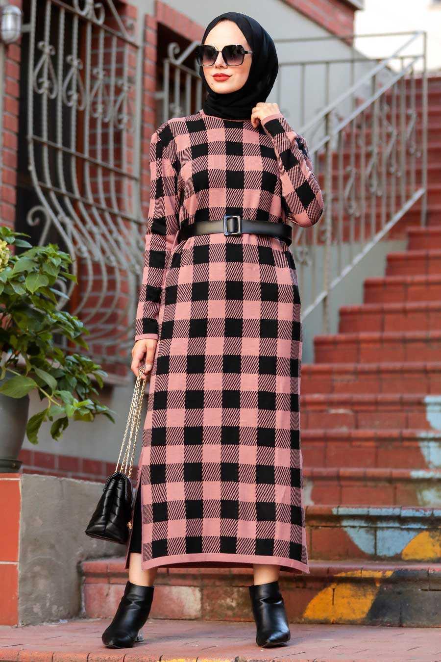 Dusty Rose Hijab Knitwear Dress 3048GK