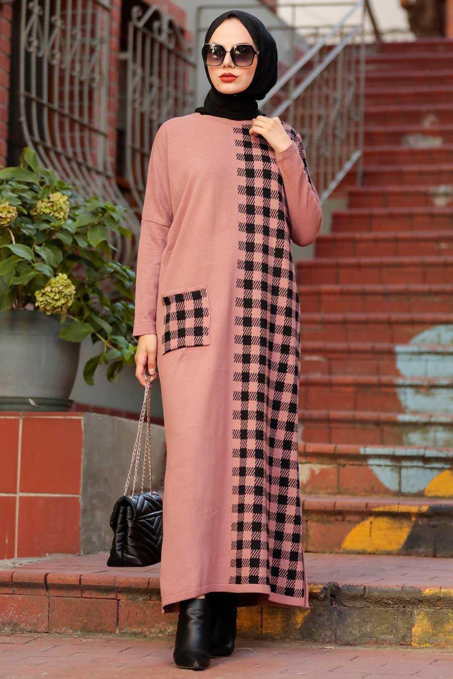 Dusty Rose Hijab Knitwear Dress 30503GK