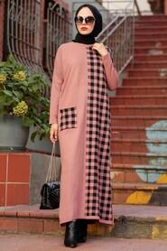 Dusty Rose Hijab Knitwear Dress 30503GK - Thumbnail