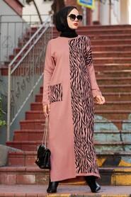Dusty Rose Hijab Knitwear Dress 3051GK - Thumbnail