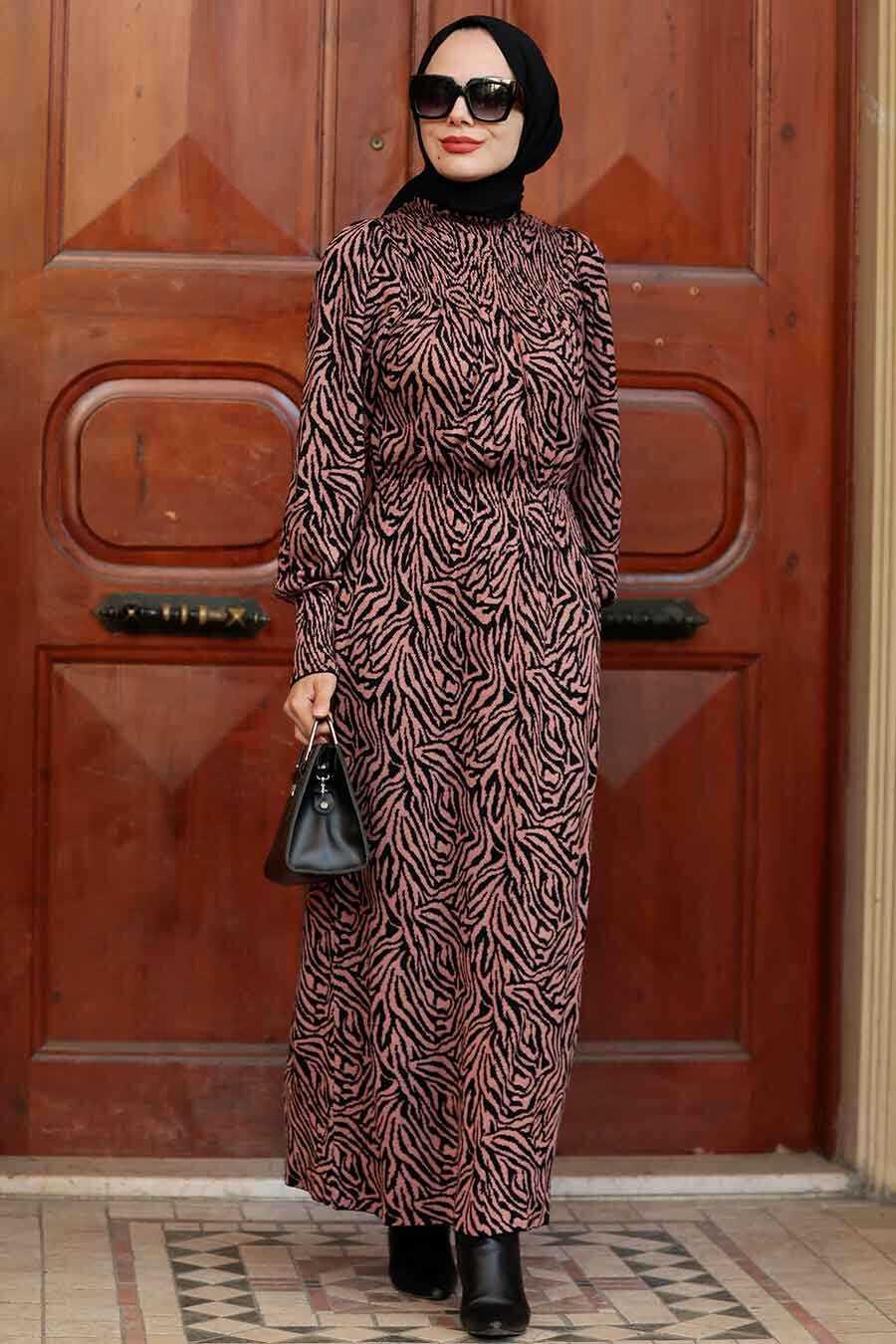 Dusty Rose Hijab Knitwear Dress 5231GK