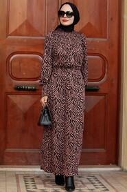 Dusty Rose Hijab Knitwear Dress 5231GK - Thumbnail