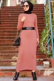 Dusty Rose Hijab Knitwear Dress 78261GK - Thumbnail