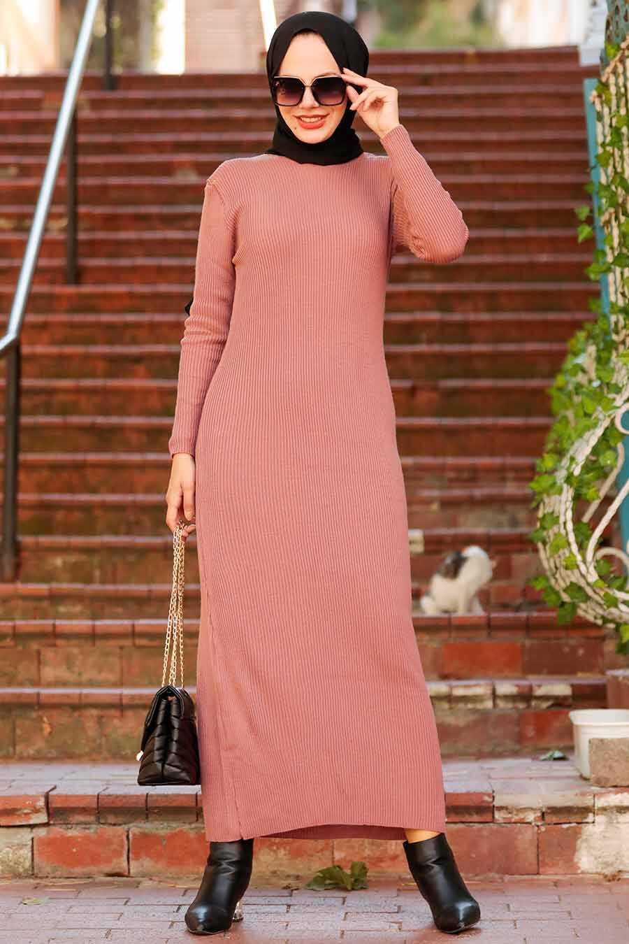 Dusty Rose Hijab Knitwear Dress 78261GK