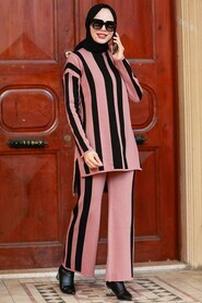 Dusty Rose Hijab Knitwear Suit Dress 3153GK - Thumbnail