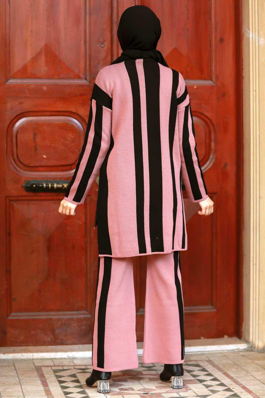 Dusty Rose Hijab Knitwear Suit Dress 3153GK