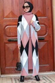 Dusty Rose Hijab Knitwear Suit Dress 3181GK - Thumbnail