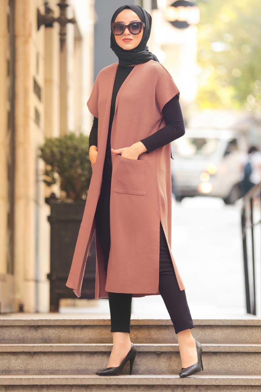 Dusty Rose Hijab Knitwear Vest 21920GK
