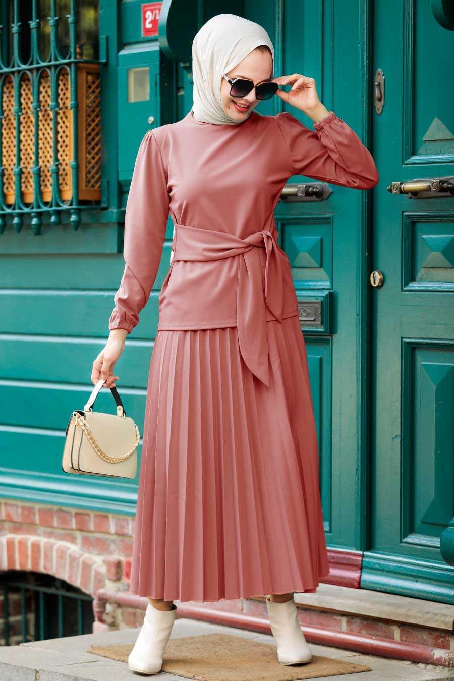 Dusty Rose Hijab Suit Dress 1533GK