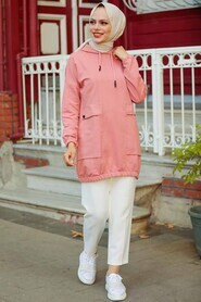 Dusty Rose Hijab Sweatshirt & Tunic 4135GK - Thumbnail