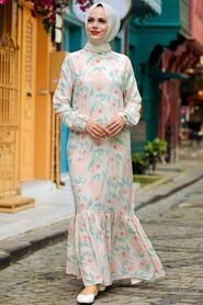 Ecru Hijab Dress 11840E - Thumbnail