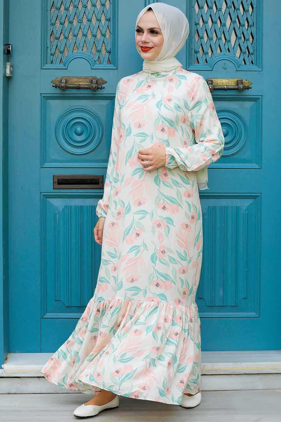 Ecru Hijab Dress 11840E