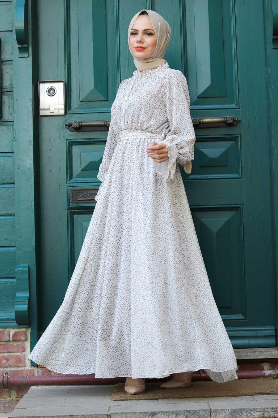 Ecru Hijab Dress 1423E