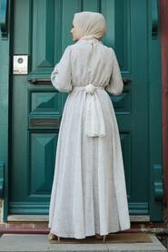 Ecru Hijab Dress 1423E - Thumbnail