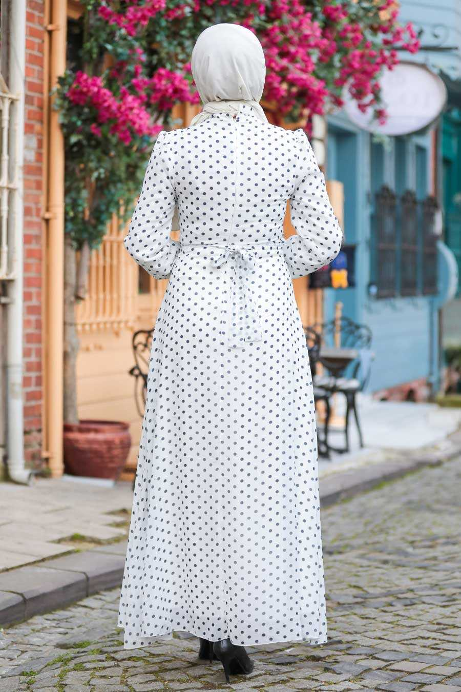Ecru Hijab Dress 27909E