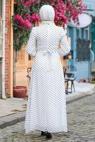 Ecru Hijab Dress 27909E - Thumbnail