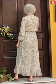 Ecru Hijab Dress 4339E - Thumbnail