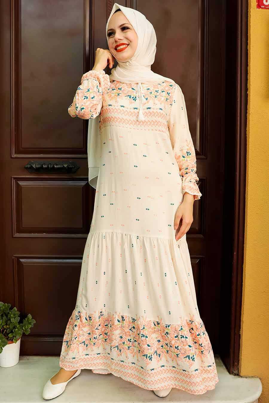 Ecru Hijab Dress 5191E