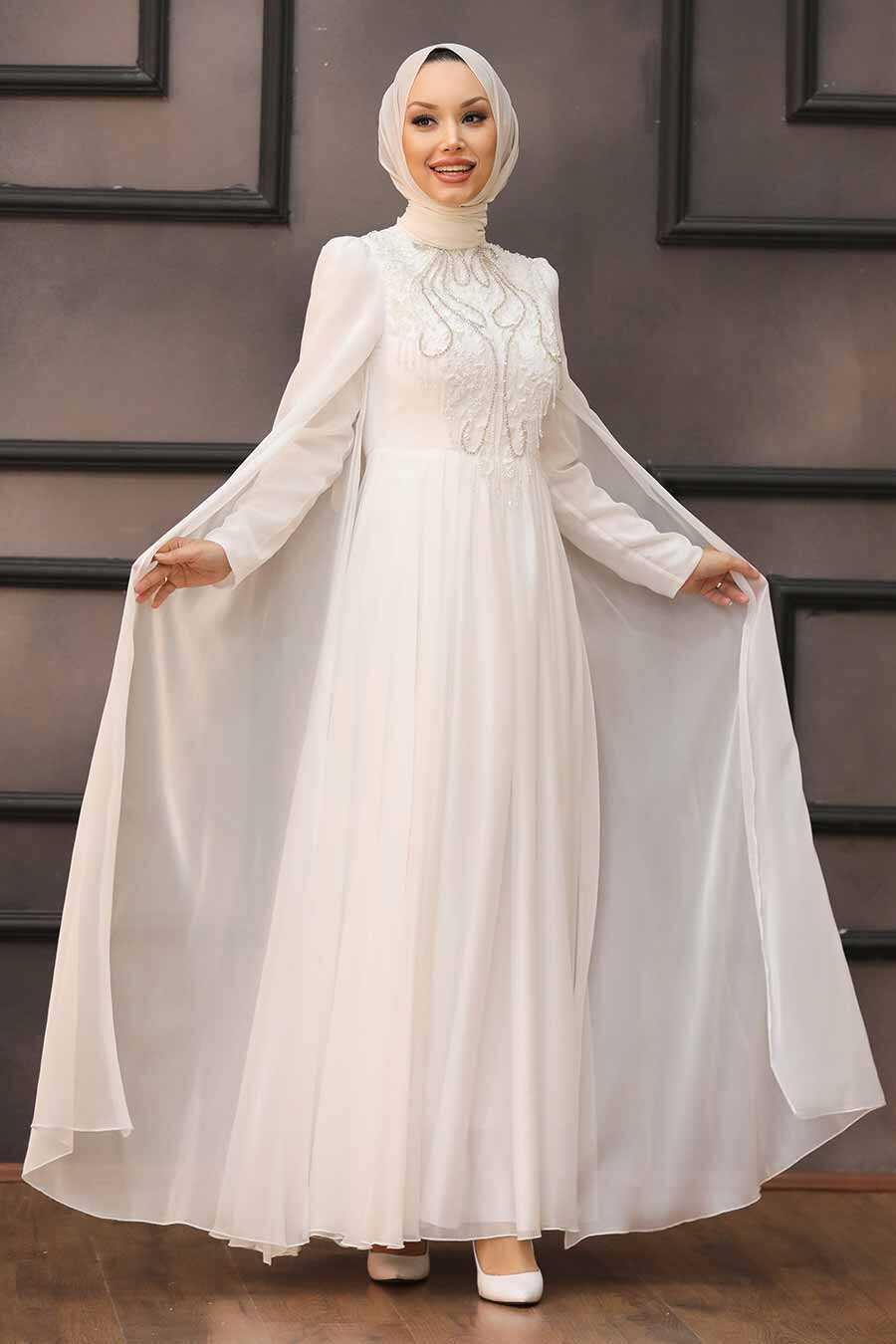 Ecru Hijab Evening Dress 22140E