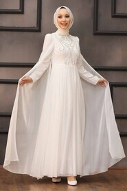 Ecru Hijab Evening Dress 22140E - Thumbnail