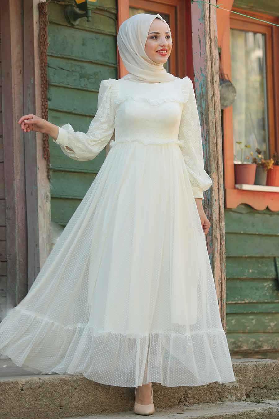 Ecru Hijab Evening Dress 38730E