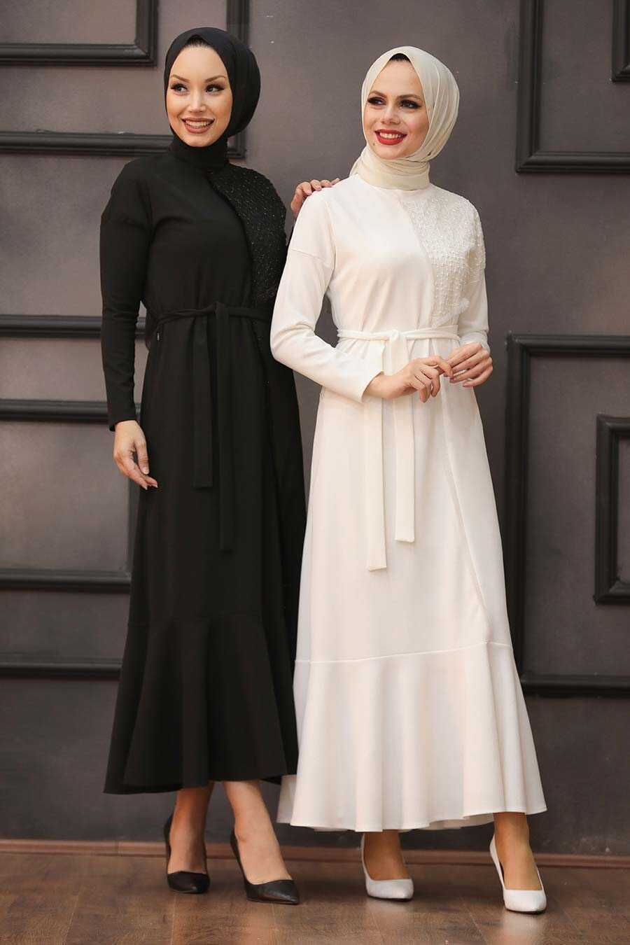 Ecru Hijab Evening Dress 40530E