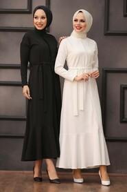Ecru Hijab Evening Dress 40530E - Thumbnail
