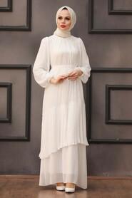 Ecru Hijab Evening Dress 40602E - Thumbnail