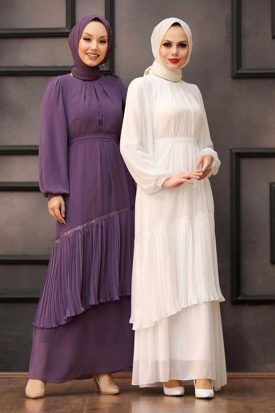 Ecru Hijab Evening Dress 40602E