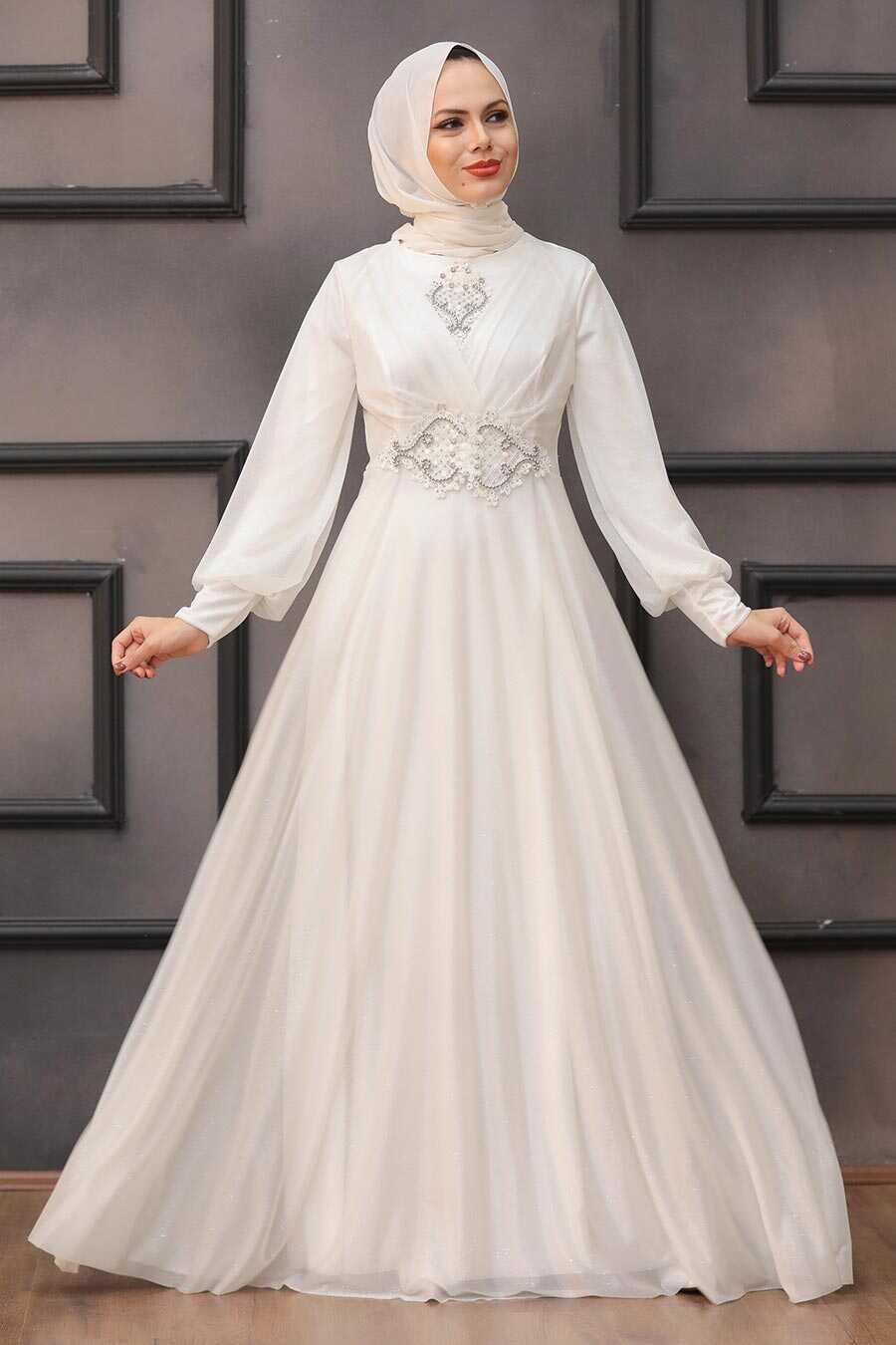Ecru Hijab Evening Dress 50151E
