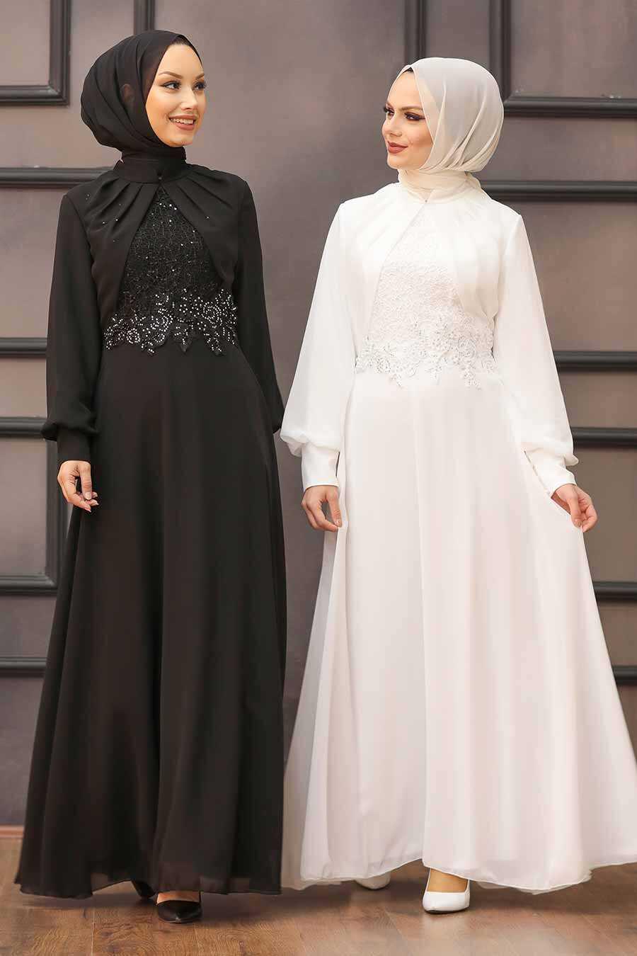 Ecru Hijab Evening Dress 52785E