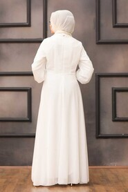 Ecru Hijab Evening Dress 52785E - Thumbnail
