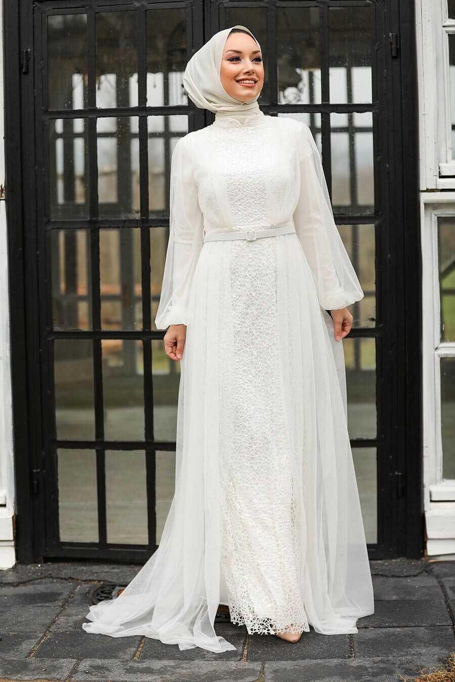 Ecru Hijab Evening Dress 5383E